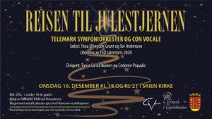 Avlyst ! Julekonsert med Con Vocale og TSO. Skien kirke 16. desember kl. 18 og 21.